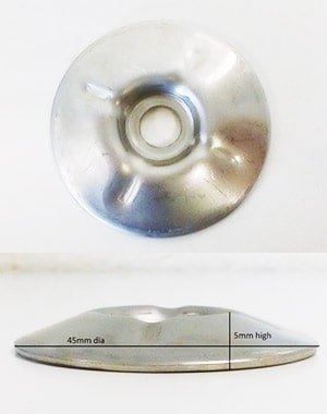 Dished Washer- 45mm outer diameter, 8.38mm inner diameter